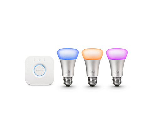 PHILIPS HUE 10W RGB A60 E27 3 set + switch