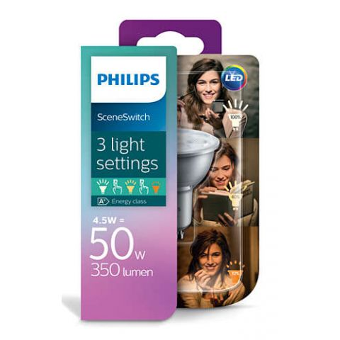 Philips LED Scene Switch 4,5-2,8-1,3W/50W GU10 WW D bodová