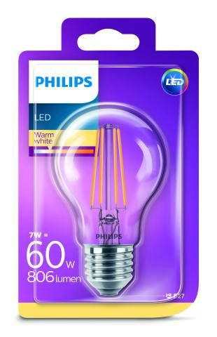PHILIPS LED ŽIAROVKA FILAMENT 7W/60W 806LM 2700K