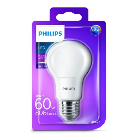 PHILIPS LED E27 8W/60W WW