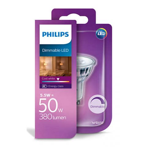 PHILIPS LED ŽIAROVKA GU10 5,5W=50W WH DIM
