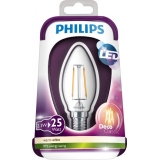 LED žiarovka PHILIPS Filament 2,3W/25W E14 WW candle CL